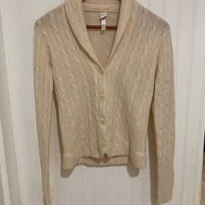 Aqua cashmere sweater ivory cable knit cardigan M